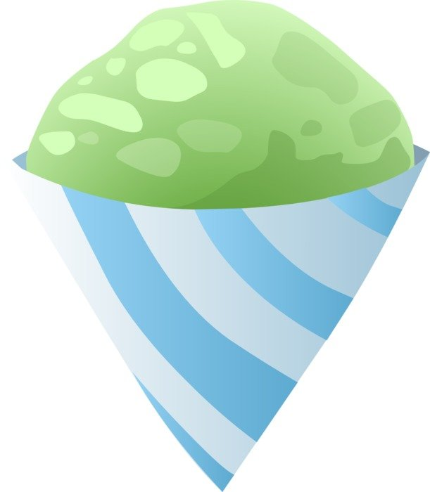 drawing of pistachio ice cream in a cone