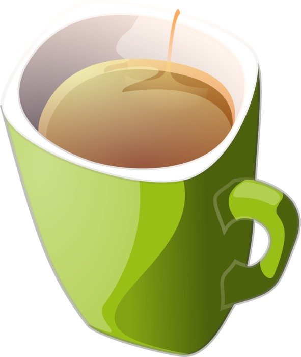 clipart,green cup with hot tea
