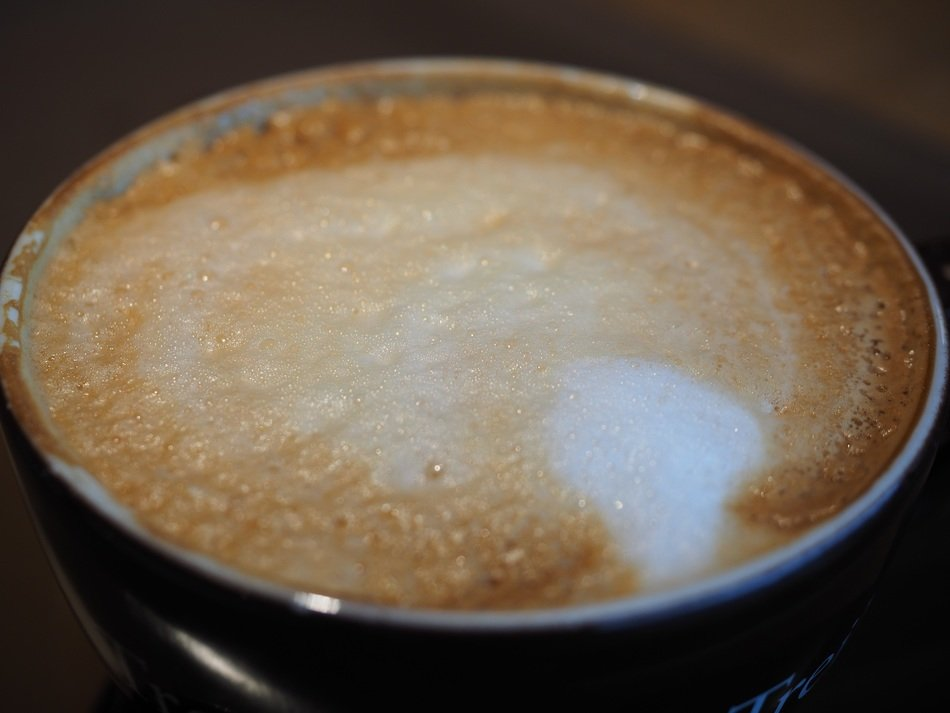 a large cup of hot cappuccino