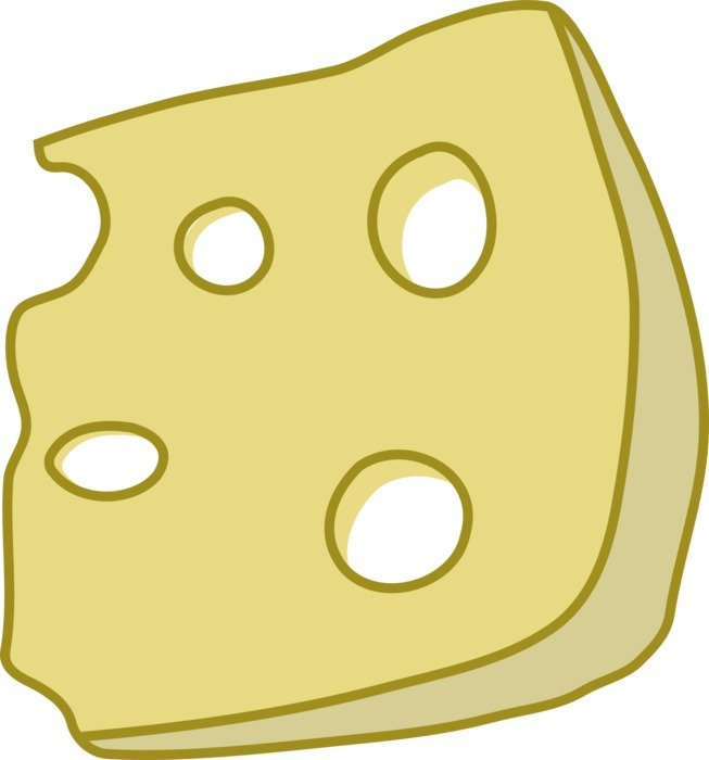 A drawn slice of cheese on a white background