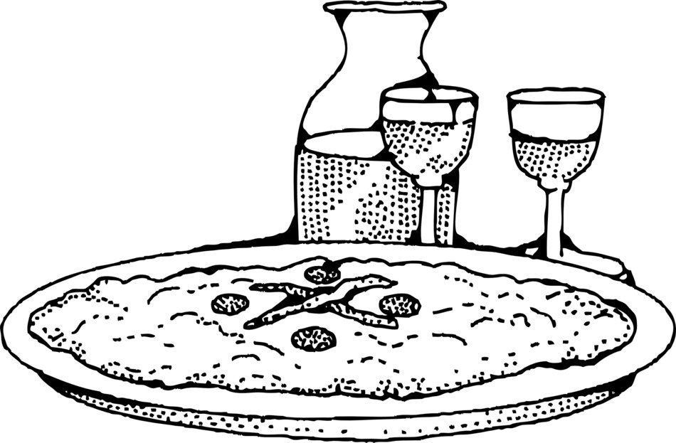 pizza and wine drawing