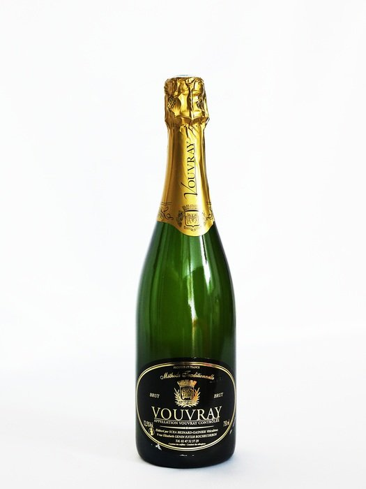 champagne bottle on white background