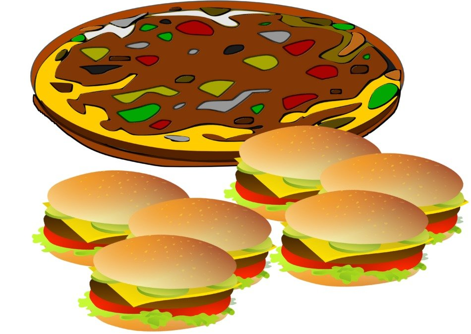 pizza hamburger food drawing