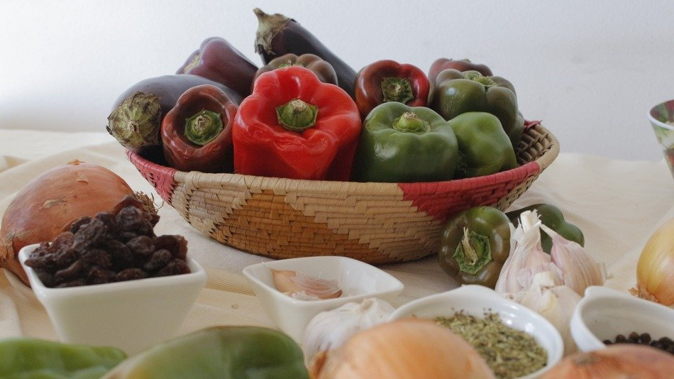 raw vegetables and spices on table