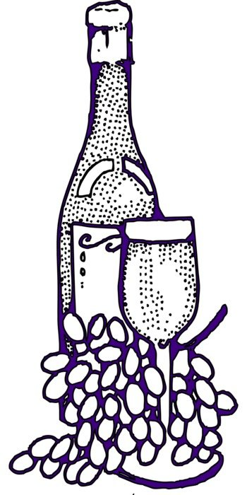 clipart of the wine and grapes