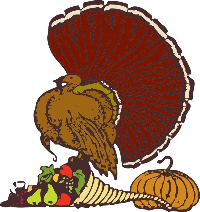 graphic image of a turkey with a cornucopia
