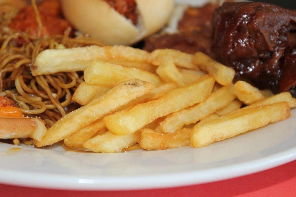 tasty french fries and meat food