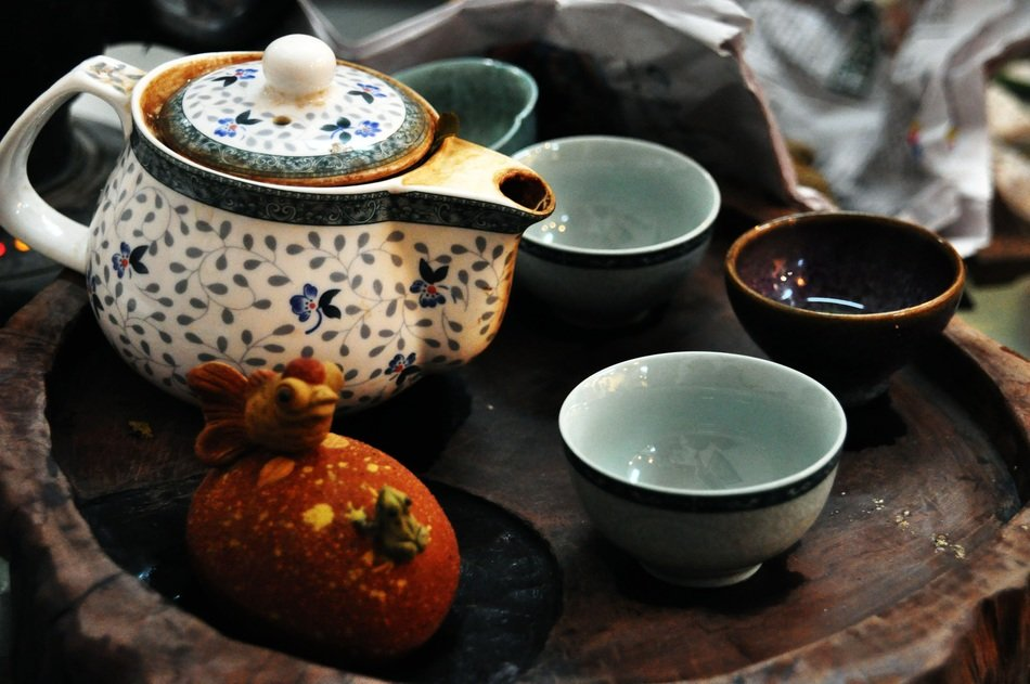 Traditional tea in the teapots
