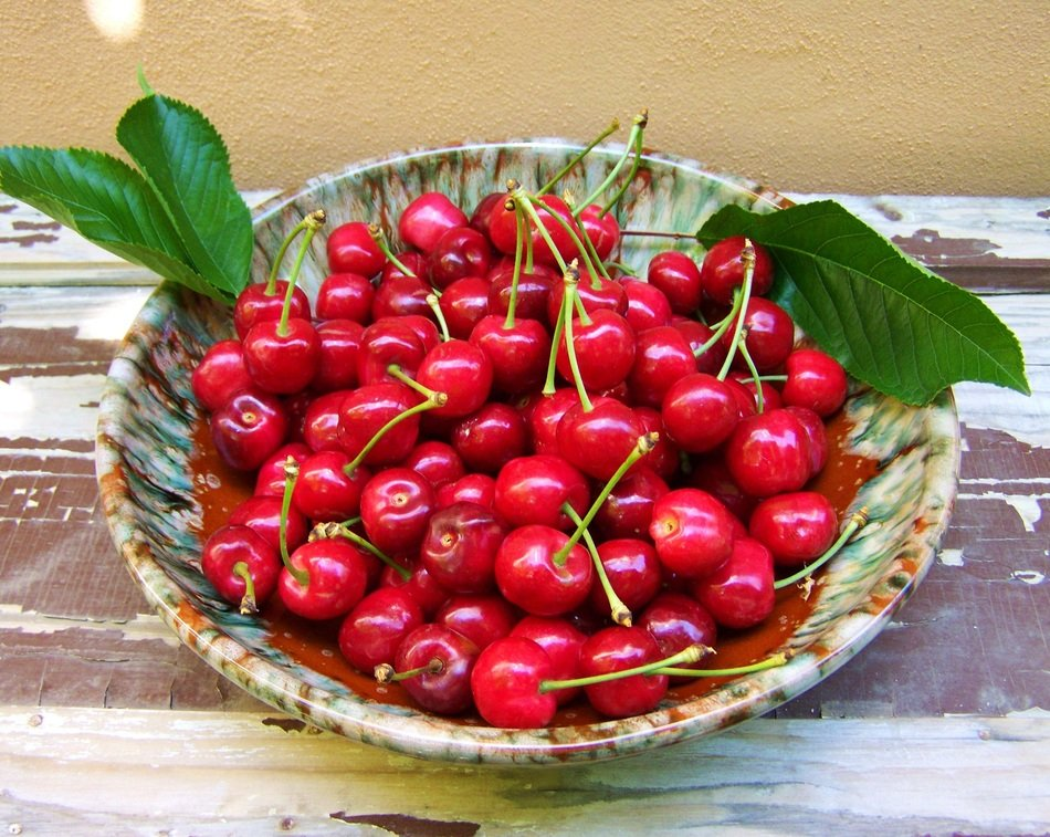 red cherry on dish, rustical still life