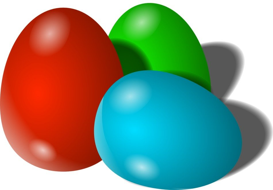 three colorful easter eggs, illustration