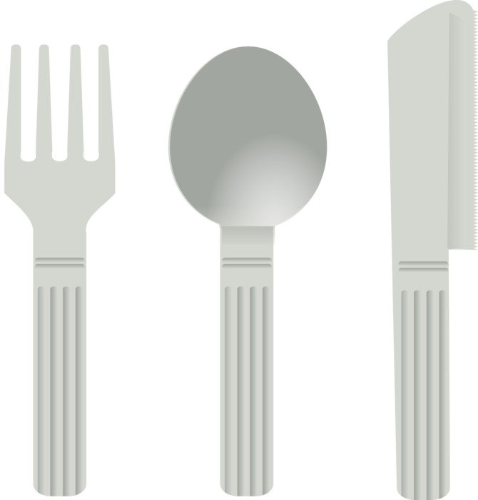 cutlery, fork, spoon and knife, illustration