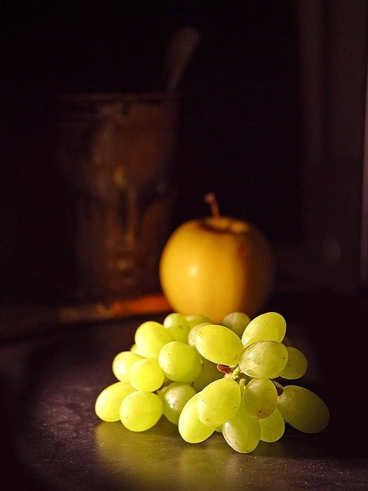 apple fruit and grapes