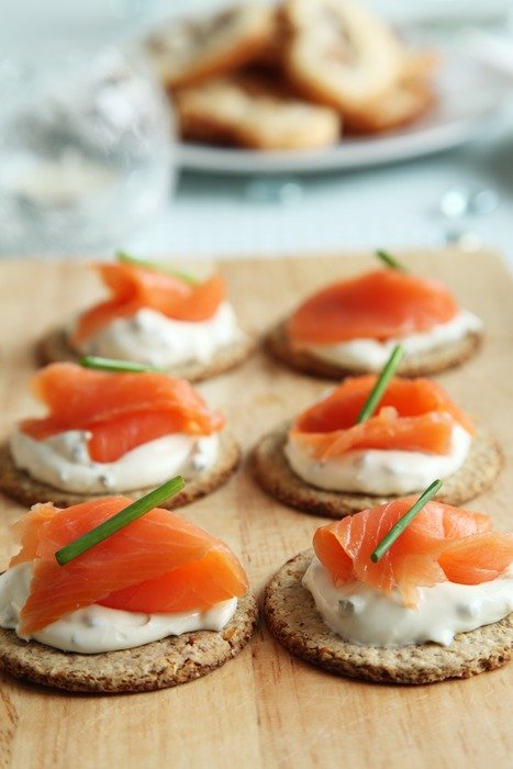 Canapes with cheese and fish