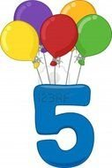 number 5 hanging on balloons
