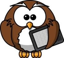 owl with ipad drawing