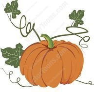 Orange Pumpkin With Green Stem Surrounded By Vines