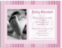 pink invitation for baby shower