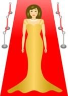 woman il luxury dress on Red Carpet, drawing