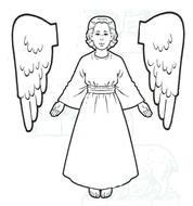 Angel, vintage cutout, Coloring Page