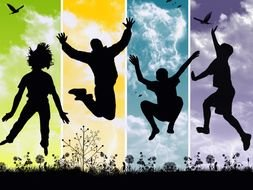 Silhouettes of happy young people jumping outdoor