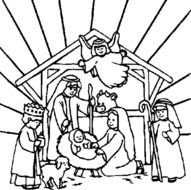 Christmas Jesus Nativity Coloring Page