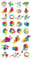 variety of three-dimensional graphic signs as a graphic illustration