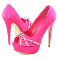 isolated hot pink high heels