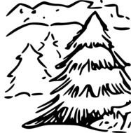 landscape with fir trees as a graphic illustration
