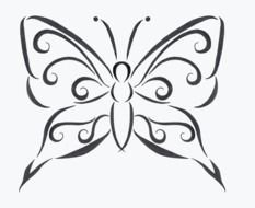 Black and white drawing of the butterfly tattoo clipart