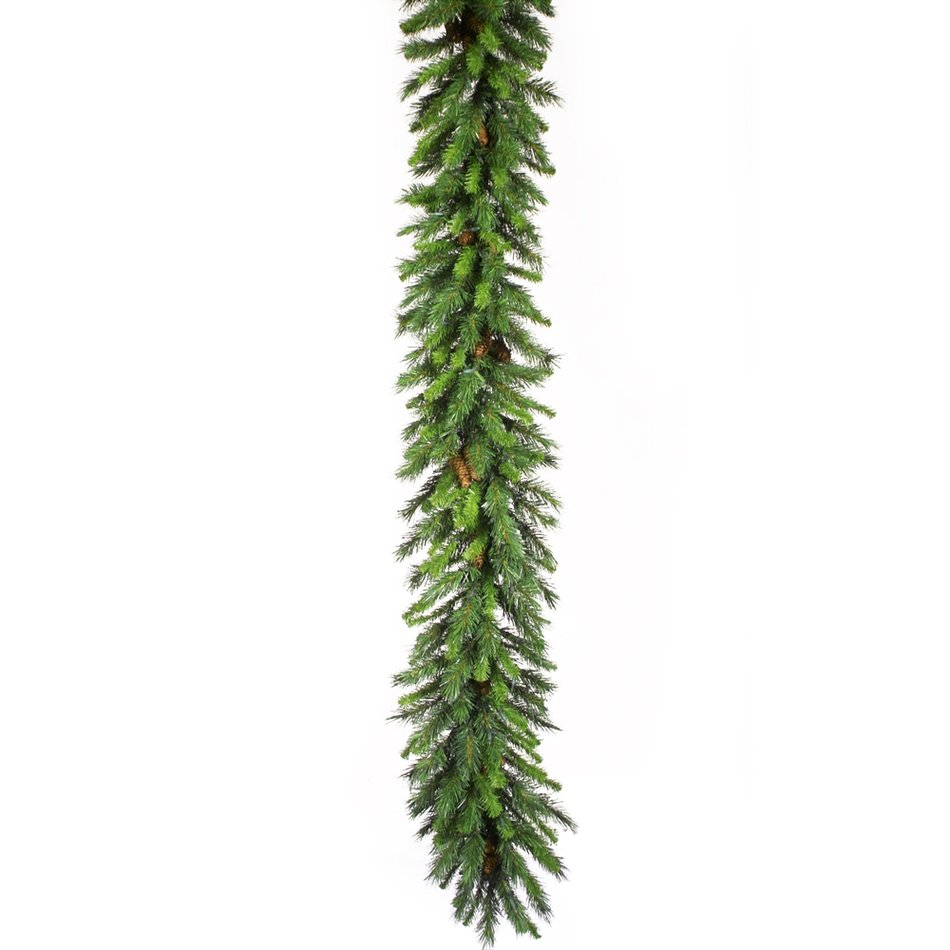 Christmas Garland, artificial fir tree branches with cones
