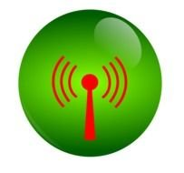 red antenna drawn on a green button