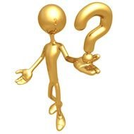 golden figurine of a man with a question mark