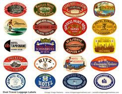 Vintage Travel Suitcase Stickers
