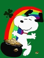 Colorful Snoopy on St. Patrick\'s Day clipart