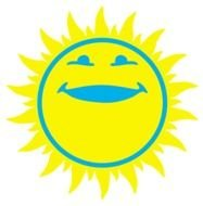 painted yellow sun with a blue smile