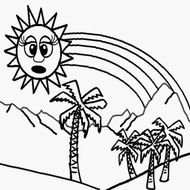 sun over palm trees in graphic representation