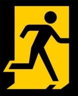 fire exit sign with a human figure