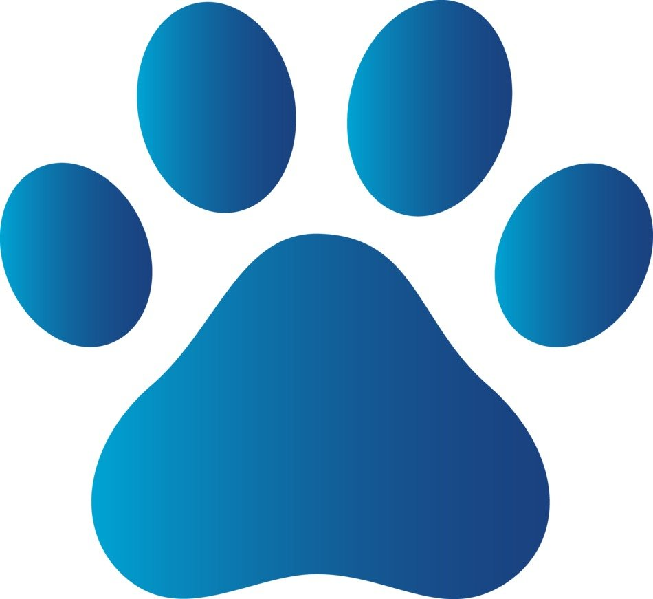 blue Paw Print Clip Art drawing