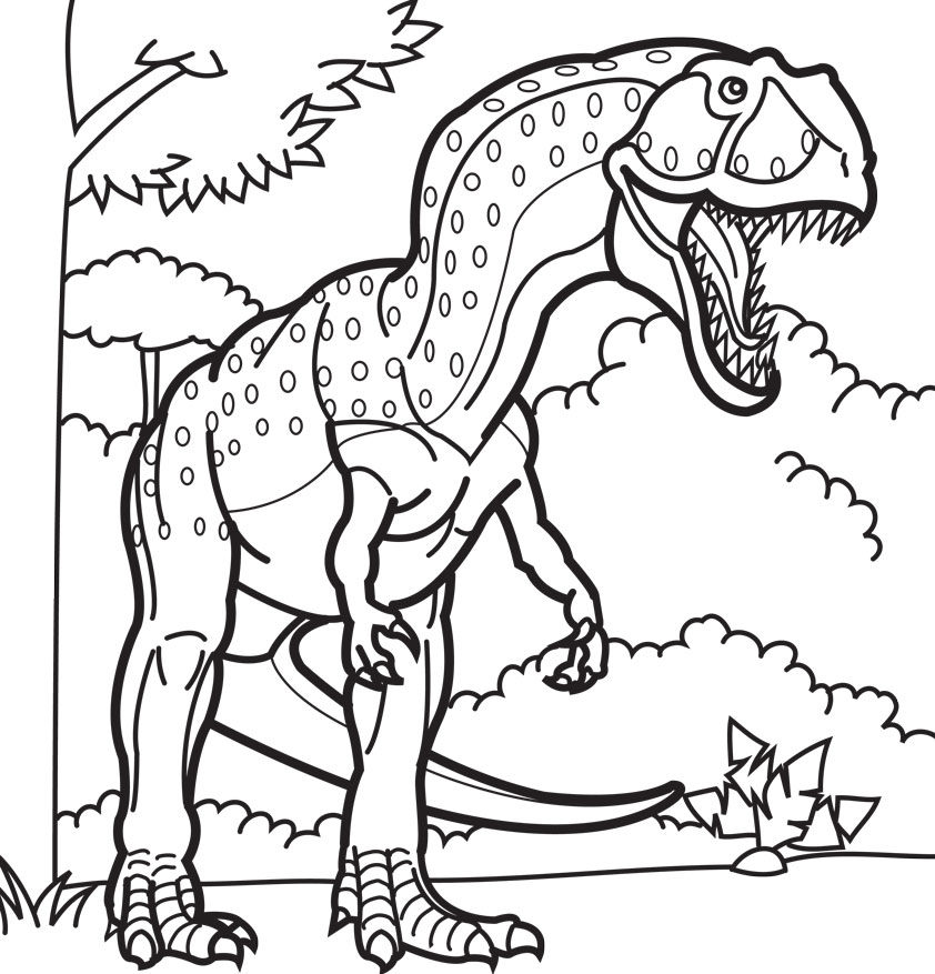Scary Dinosaur Coloring Pages drawing free image