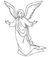 Trumpet Angel Coloring Page drawing