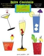 clip art with retro cocktails