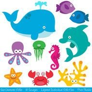 clip art with sea animals