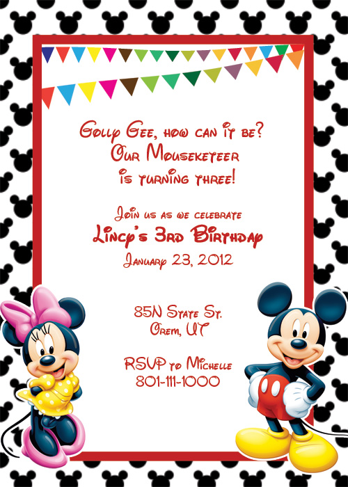 graphic about Printable Mickey Mouse Invitations known as Printable Mickey Mouse Invitation Template no cost impression