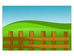 wooden Farm Fence at green hill, drawing