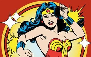 Colorful cartoon drawing of Wonder Woman clipart