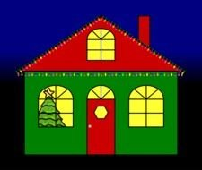 painted green house with red roof and christmas decorations