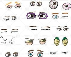 Different eye types clipart