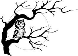 Black and white drawing of the moon and owl on the tree clipart
