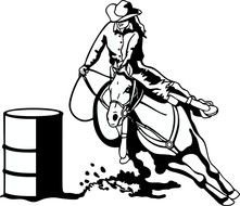 barrel and rider as a graphic illustration