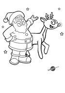 black and white picture santa claus with a deer